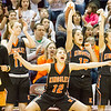 Record-Eagle/Brett A. Sommers Kingsley's Remmi King leads a celebration on the bench during Friday's Class B semifinal against Detroit Country Day at Calvin College's Van Noord Arena. Country Day won 70-54.