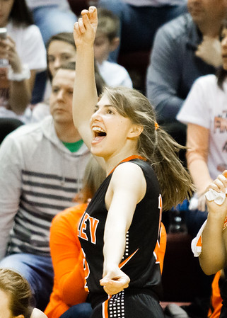 Record-Eagle/Brett A. Sommers Kingsley's Remmi King reacts during Friday's Class B semifinal against Detroit Country Day at Calvin College's Van Noord Arena. Country Day won 70-54.