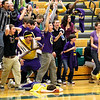 Record-Eagle/Jan-Michael Stump<br /> Leland fans reacts after Isabelle Scott's shot from just inside midcourt beats the halftime buzzer during Thursday's win over McBain NMC.