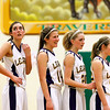 Record-Eagle/Jan-Michael Stump<br /> Leland's Elizabeth McKee (11), Tantzi Snyder (14), Isabelle Scott (20) and Caitlin McKee (22) wait for the start of an inbounds pass play during Thursday's win over McBain NMC