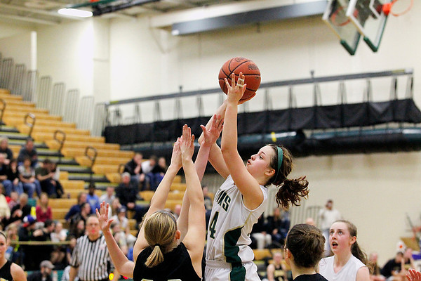 Record-Eagle/Jan-Michael Stump<br /> Traverse City West's Lauren Ellison (14) shoots over Traverse City Central's Lauren Lozowski (20) in the second half of Friday's game.
