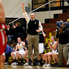 Record-Eagle/Jan-Michael Stump<br /> Traverse City Central coach Ryan Knudsen shouts to his players during Wednesday's district semifinal win over Marquette.