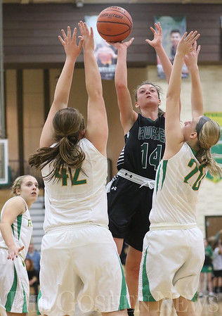 JAY YOUNG | THE GOSHEN NEWS<br /> Wawasee junior Hannah-Marie Lamie (14) shoots over Northridge defenders Ashley Beckler (42) and Brooke McKinley (20) during their game Tuesday night at Northridge Middle School.