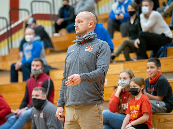 Westview Warriors head coach Ryan Yoder reacts during Tuesday's game at Westview Junior-Sr. High School in Topeka.