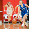 Bethany Christian Bruins freshman Mariah Stoltzfus (24) dribbles the ball down court during Tuesday's game at Westview Junior-Sr. High School in Topeka.