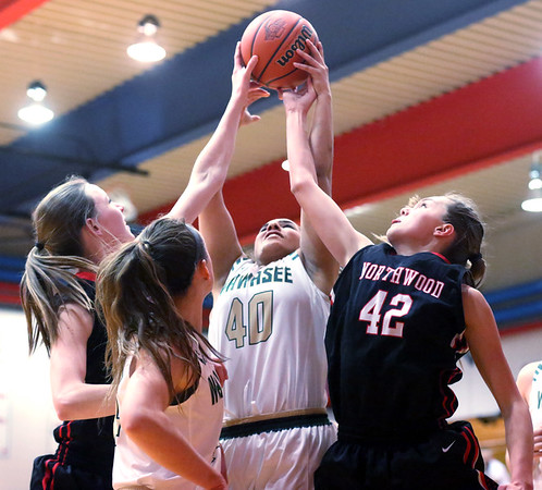 JAY YOUNG | THE GOSHEN NEWS<br /> Wawasee senior Seaquinn Bright (40) and NorthWood freshman Madison Payne (42) fight for a rebound during their sectional game Tuesday night at West Noble High in Ligonier.