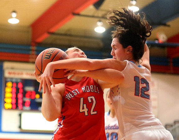JAY YOUNG | THE GOSHEN NEWS<br /> Lakeland junior Rebeka Stroop (12) hammers West Noble sophomore Angela Gross (42) as Gross tries to get a shot off during their sectional game Tuesday night in Ligonier.