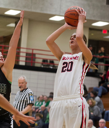 SAM HOUSEHOLDER | THE GOSHEN NEWS<br /> NorthWood junior Jordyn Frantz shoots during the game against Wawasee Wendesday at the 3A Sectional game.