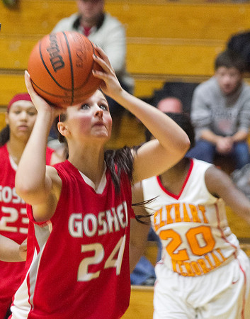 SAM HOUSEHOLDER | THE GOSHEN NEWS<br /> Goshen junior Leslie Vanlandingham during the game against Elkhart Memorial Friday.