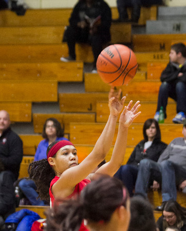 SAM HOUSEHOLDER | THE GOSHEN NEWS<br /> Goshen senior Deja Felder shoots the ball Friday during the game against Elkhart Memorial.