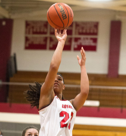SAM HOUSEHOLDER | THE GOSHEN NEWS<br /> Goshen senior Deja Felder shoots the ball against Mishwaka Tuesday during the game.