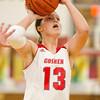SAM HOUSEHOLDER | THE GOSHEN NEWS<br /> Goshen junior Alyssa Hershberger shoots the ball against Mishawaka Marian Tuesday.