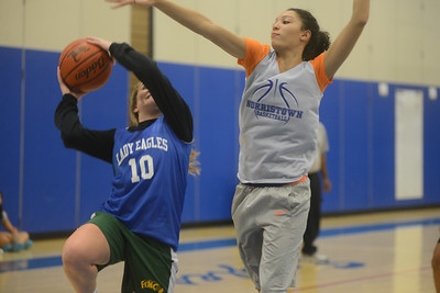 Norristown's Lady Eagles practice for their upcoming season.  Monday, November 25, 2014.  Adrianna Hoff—The Times Herald.