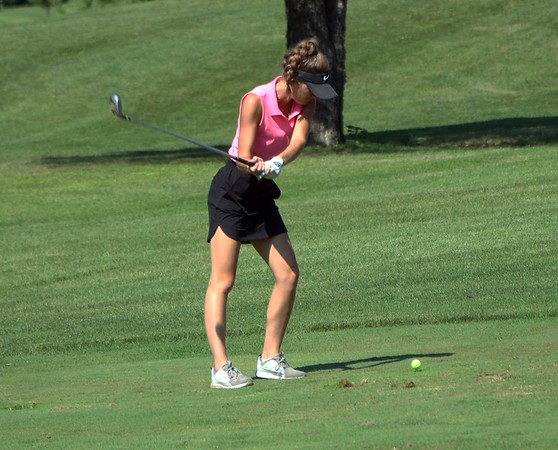 Westview's Lillian Eash tees off from the first hole during Saturday's Wawasee Invitational at South Shore Golf Club in Syracuse.