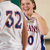Record-Eagle/Jan-Michael Stump<br /> Central Lake's Christy McPherson (32) and Tasha Crouse (50) celebrate after Tuesday's win over Arenac Eastern.