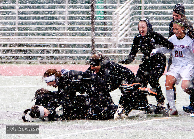Scarsdale Girls Soccer team defeats Ketcham in playoff game during a surprise October snow storm.