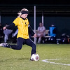 Northridge Raiders senior Madison Wienert (5) kicks a penalty kick Thursday during the game at Todd Woodworth Field in Middlebury.