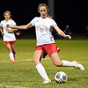 Westview Warriors forward Elaine Troyer (9) takes a shot on goal during Tuesdays game at Elkhart Christian Academy in Elkhart.