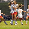 Westview Warriors midfielder Paige Riegsecker (8) celebrates after scoring a goal with her teammates during Tuesdays game at Elkhart Christian Academy in Elkhart.