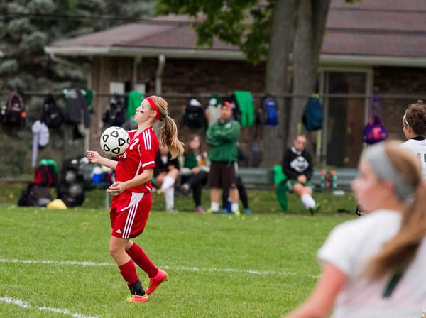 SAM HOUSEHOLDER   THE GOSHEN NEWS<br /> Goshen sophomore Aylissa Trosper traps the ball against Concord Tuesday. Trosper scored a goal to put Goshen up 1-0 in the first half.