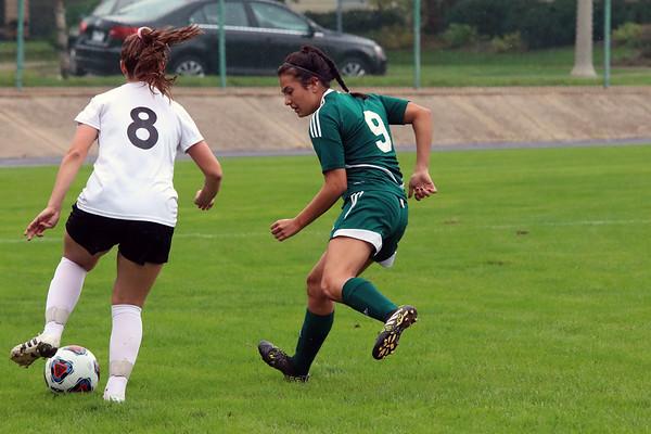GREG KEIM   THE GOSHEN NEWS<br /> Junior Mikayla Smith of the Northridge Raiders defends Penn junior Allison Lankowicz in the IHSAA Class 3A girls soccer regional Saturday at Tallman-Beyrer Field in South Bend. Penn was a 4-0 winner.
