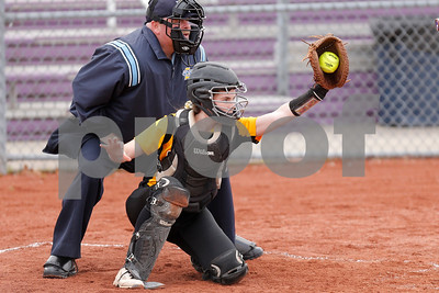 Avon High School catcher Maggie Harding (18) hauls in the strike during the game between Avon vs Ben Davis  at  Ben Davis High School in Indianapolis,IN. (Jeff Brown/Flyer Photo)