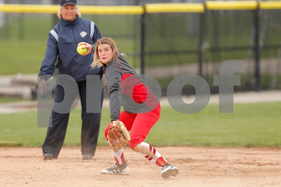 Plainfield High School shortstop Kasey Pierce  (23) looks to make the throw to first for the out during the game between Martinsville vs Plainfield at  Plainfield  High School in Plainfield,IN. (Jeff Brown/Flyer Photo)