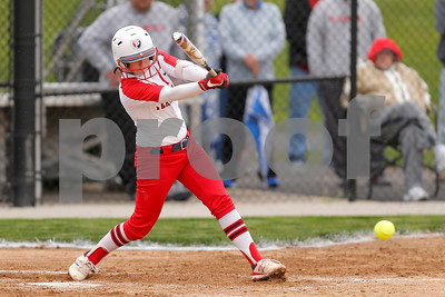 Plainfield High School catcher Shelby Baker  (3) connects for a single during the game between Martinsville vs Plainfield at  Plainfield  High School in Plainfield,IN. (Jeff Brown/Flyer Photo)