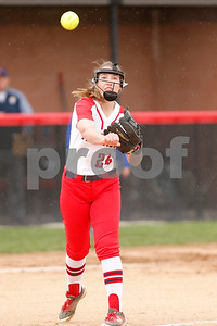 Plainfield High School pitcher Valerie Priar  (24) with the throw to first for the out during the game between Martinsville vs Plainfield at  Plainfield  High School in Plainfield,IN. (Jeff Brown/Flyer Photo)