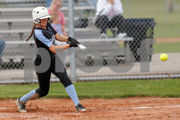 Cascade High School shortstop Makayla Collier (4) with a single and drives in two runs during the game between South Putnam vs Cascade at Cascade High School in Clayton,IN. (Jeff Brown/Flyer Photo)