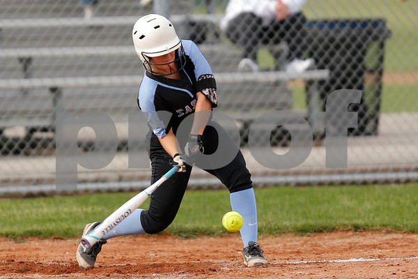 Cascade High School second baseman Alexis Gross (9) connects for a singles and drives in a run during the game between South Putnam vs Cascade at Cascade High School in Clayton,IN. (Jeff Brown/Flyer Photo)