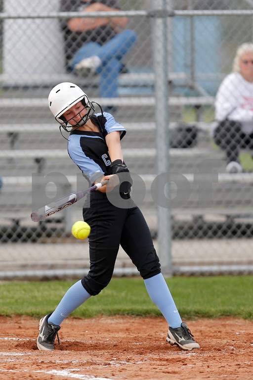 Cascade High School center fielder Kate Ashby (1) connects for a single and drives in a run during the game between South Putnam vs Cascade at Cascade High School in Clayton,IN. (Jeff Brown/Flyer Photo)