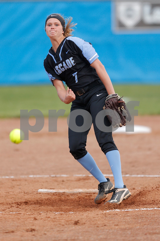 Cascade High School pitcher Alisha Burch (7) brings the heat to the plate during the game between South Putnam vs Cascade at Cascade High School in Clayton,IN. (Jeff Brown/Flyer Photo)