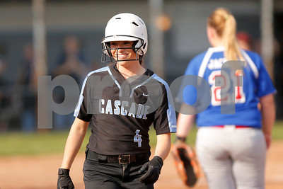 Cascade High School shortstop Makayla Collier (4) is all smiles as she gets the first able being hit by the pitch during the game between South Putnam vs Cascade at Cascade High School in Clayton,IN. (Jeff Brown/Flyer Photo)