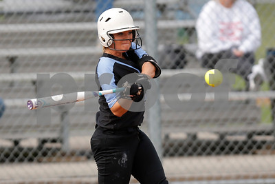 Cascade High School second baseman Alexis Gross (9) connects for a single during the game between South Putnam vs Cascade at Cascade High School in Clayton,IN. (Jeff Brown/Flyer Photo)