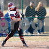 Danville Warrior freshman Abby Yarnell (12) connects for a single during the  game between the Southmont Mounties and Danville Warriors at Danville High School in Danville,IN. (Jeff Brown/Flyer Photo)