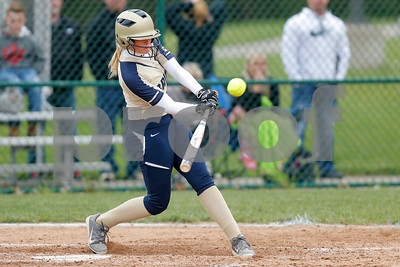 Tri-West High School outfielder Abby Hogan (19) connects for a double during the game between Tri-West vs Danville at  Danville High School in Danville,IN. (Jeff Brown/Flyer Photo)