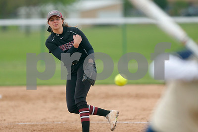 Danville High School senior Emma Dwyer (16) fires the pitch to the plate during the game between Tri-West vs Danville at  Danville High School in Danville,IN. (Jeff Brown/Flyer Photo)