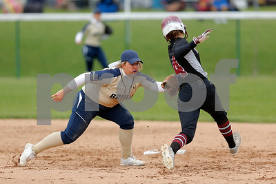 Tri-West High School shortstop Kenna Ross (6) puts the tag on Danville High School freshman Mattie Wambach (4) for the out during the game between Tri-West vs Danville at  Danville High School in Danville,IN. (Jeff Brown/Flyer Photo)