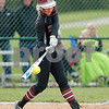 Danville High School sophomore Kate Barton (3) connects for a single during the game between Tri-West vs Danville at  Danville High School in Danville,IN. (Jeff Brown/Flyer Photo)