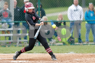 Danville High School senior Kaiti Skinner (13) connects for a double and drives in a run during the game between Tri-West vs Danville at  Danville High School in Danville,IN. (Jeff Brown/Flyer Photo)