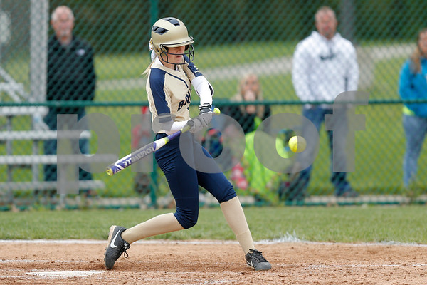 Tri-West High School pitcher Shelby Crockett (9) with a double and a RBI during the game between Tri-West vs Danville at  Danville High School in Danville,IN. (Jeff Brown/Flyer Photo)