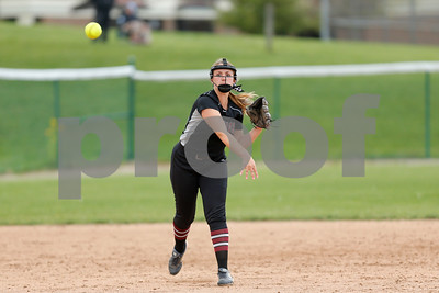 Danville High School sophomore Cassidy Tewes (24) makes the throw to first for the out during the game between Tri-West vs Danville at  Danville High School in Danville,IN. (Jeff Brown/Flyer Photo)