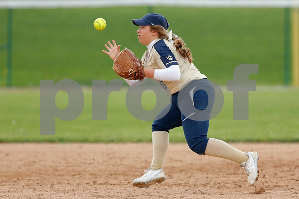 Tri-West High School shortstop Kenna Ross (6) has the ball pop out of her glove during the game between Tri-West vs Danville at  Danville High School in Danville,IN. (Jeff Brown/Flyer Photo)