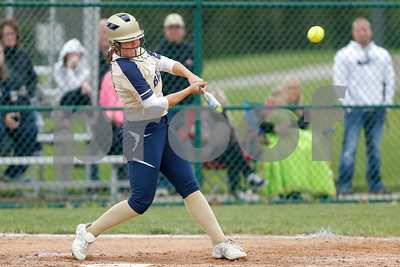 Tri-West High School third baseman Hailee Gifford (10) with a double during the game between Tri-West vs Danville at  Danville High School in Danville,IN. (Jeff Brown/Flyer Photo)