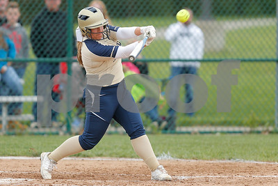 Tri-West High School shortstop Kenna Ross (6) blasts a solo home run during the game between Tri-West vs Danville at  Danville High School in Danville,IN. (Jeff Brown/Flyer Photo)