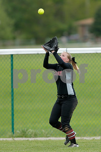 Danville High School freshman Aly Haddix (15) makes the catch for the out to end the inning during the game between Tri-West vs Danville at  Danville High School in Danville,IN. (Jeff Brown/Flyer Photo)