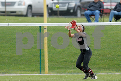 Danville High School junior Keara Schroder (1) makes the catch for the out during the game between Tri-West vs Danville at  Danville High School in Danville,IN. (Jeff Brown/Flyer Photo)
