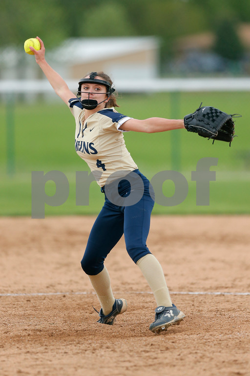 Tri-West High School pitcher Hannah Forrest (4) winds up to bring the heat to the plate during the game between Tri-West vs Danville at  Danville High School in Danville,IN. (Jeff Brown/Flyer Photo)