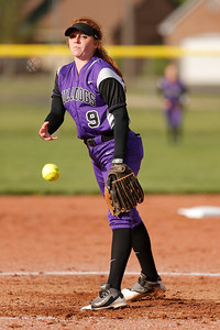 Brownsburg high school pitcher Elissa Brown (C) (9) fires the pitch to the plate during the game between Zionsville vs Brownsburg at  Brownsburg High School in Brownsburg,IN. (Jeff Brown/Flyer Photo)